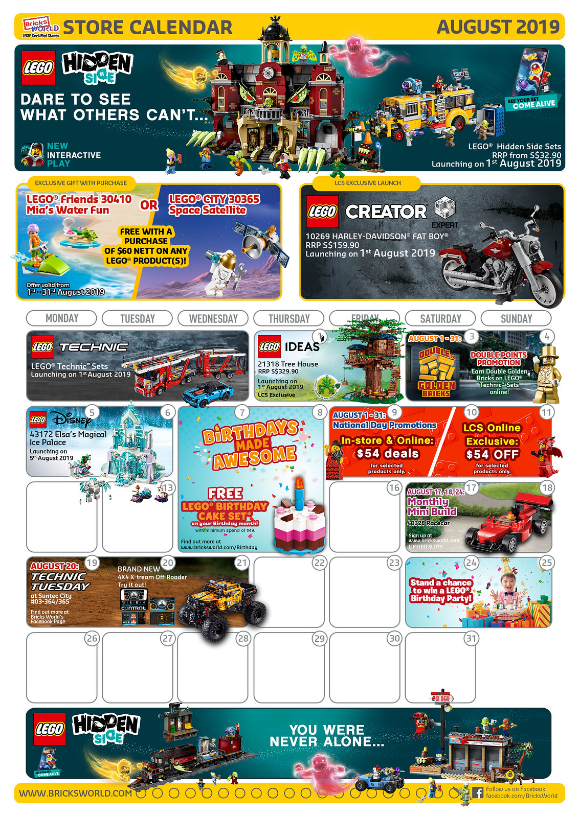 LEGO Certified Store Calendar August 2019 - Front