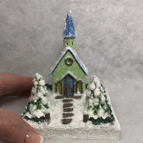 TINY MINI Green and Blue Putz Church