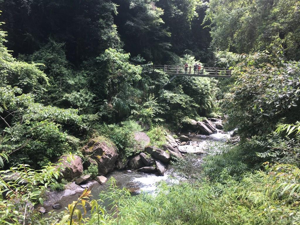 警備道路為了盡量沿等高線施作,遇到溪谷需以吊橋跨越。行進中的吊橋。