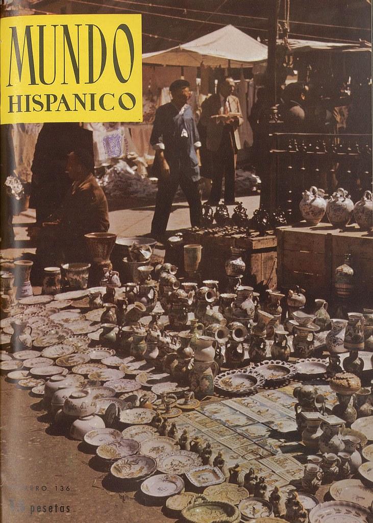 Reportaje sobre el mercadillo del martes en Zocodover con fotos de Ramón Masats. Julio de 1959, Mundo Hispánico (portada)