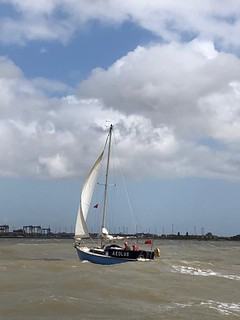 Aeolus surfing into Harwich with 25kts behind her
