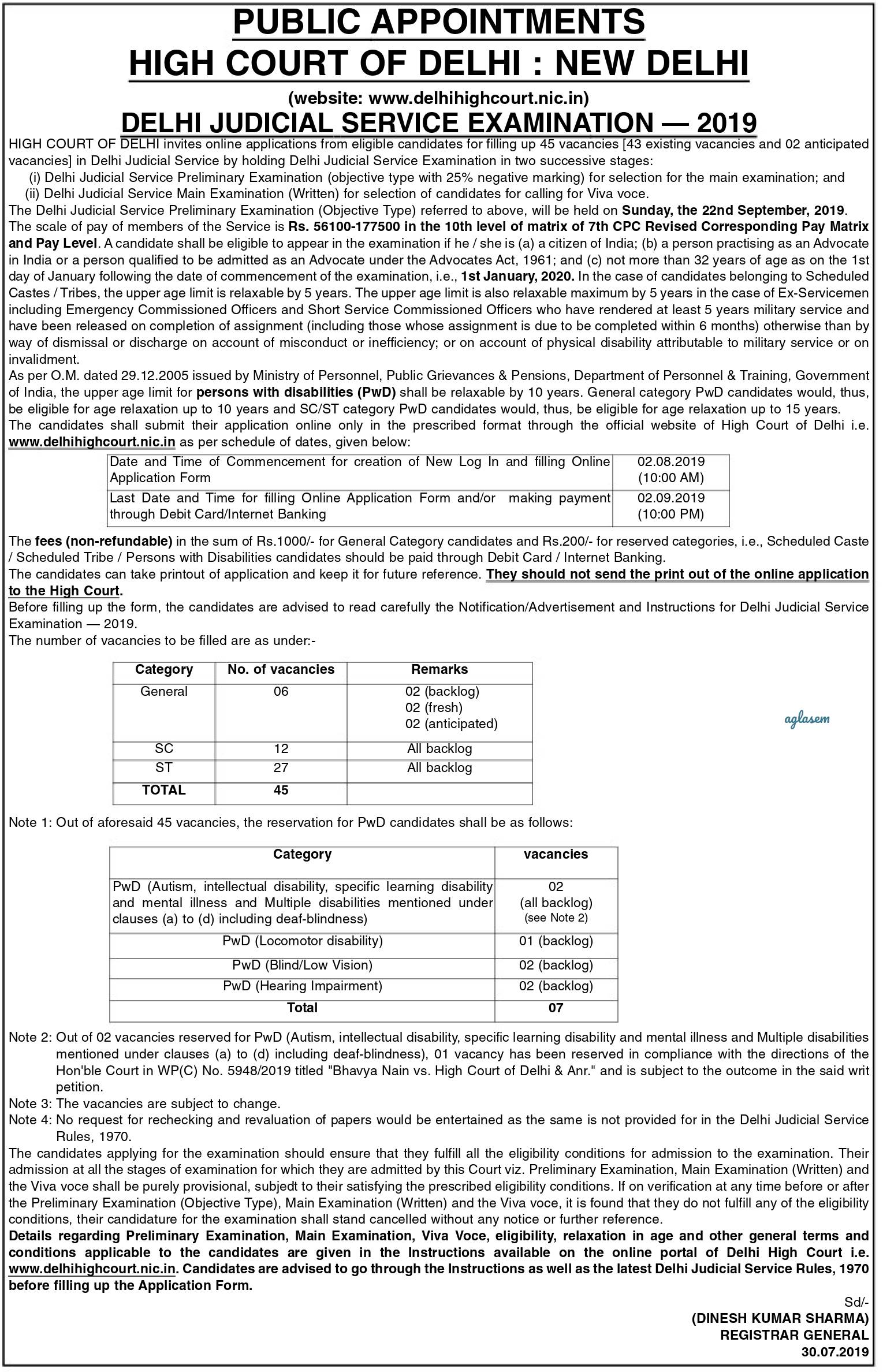 Delhi Judicial Services 2019 Notification