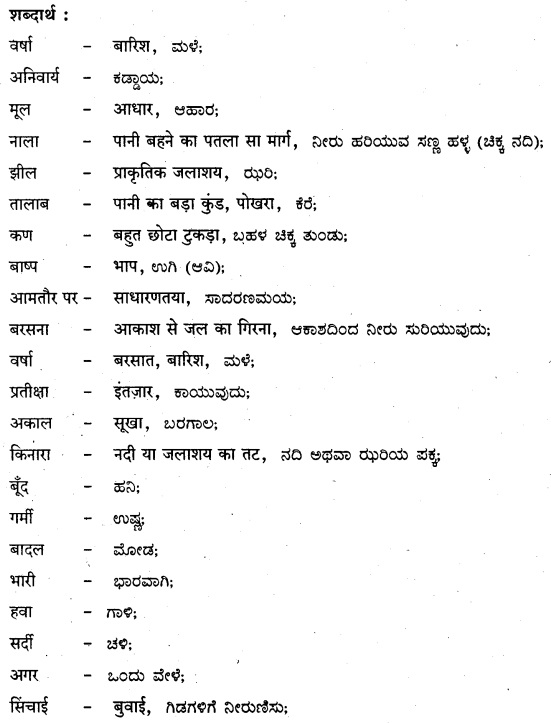 KSEEB Solutions for Class 8 Hindi वल्लरी Chapter 14 जीवनधात्री-वर्षा 1