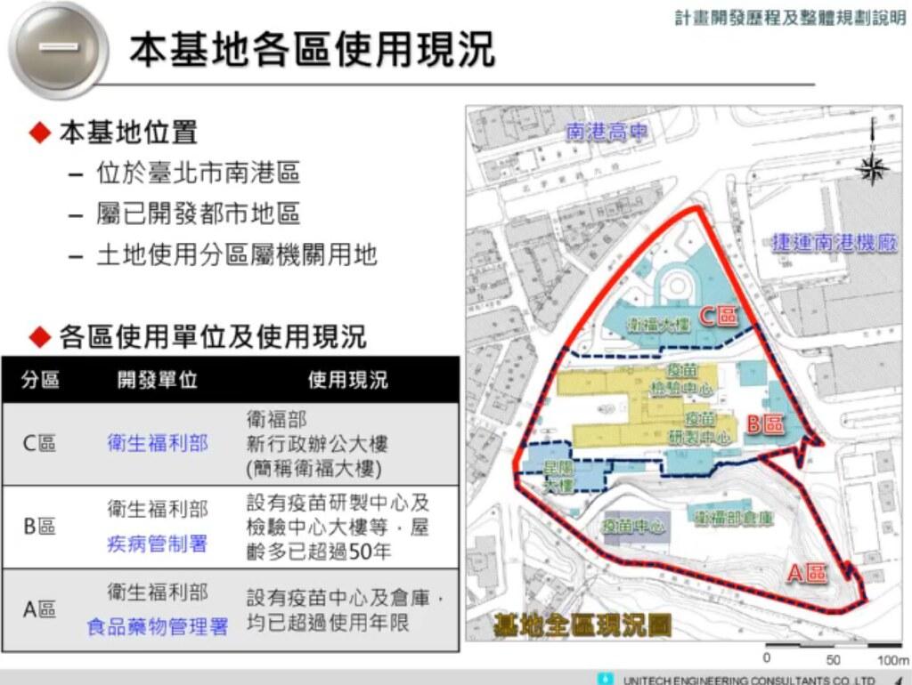 南港基地可分為A、B、C三區,本次計畫為A、B兩區。擷取自台北市環保局直播