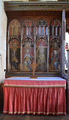 Ranworth screen: south side reredos and altar