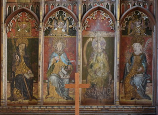 Ranworth screen (north reredos): St Etheldreda, St Agnes/St John the Baptist, St John the Baptist, St Barbara