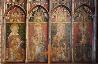 Ranworth screen (south reredos): St Mary Salome, Blessed Virgin, St Mary Cleophas, St Margaret