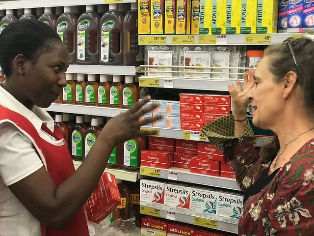 Jane and Shop Assistant in Shoprite Sep-19