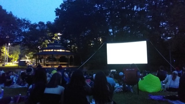 Waiting for the show #toronto #beaches #kewgardens #evening #gazebo #screen