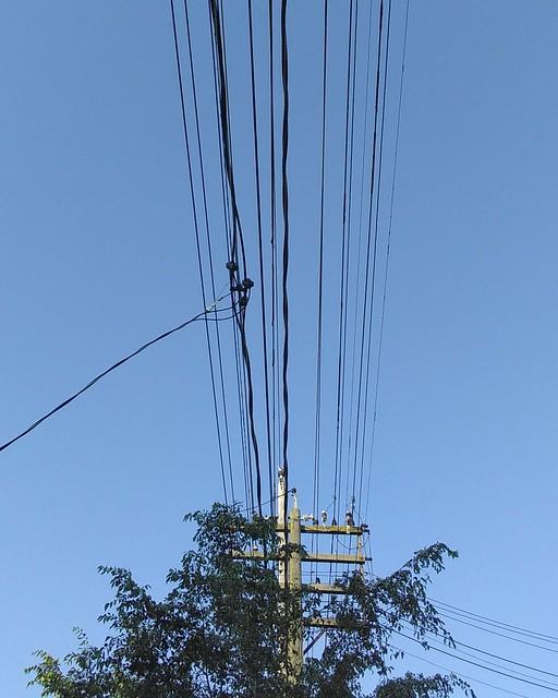 Wires overhead #toronto #beaches #queenstreeteast #queenstreet #wires #blue #sky