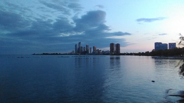 Towards Humber Bay shores #toronto #lakeontario #humberbayshores #skyline #towers #evening #blue #clouds