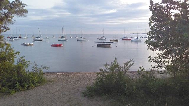 Boats anchored #toronto #lakeontario #beach #boats #evening