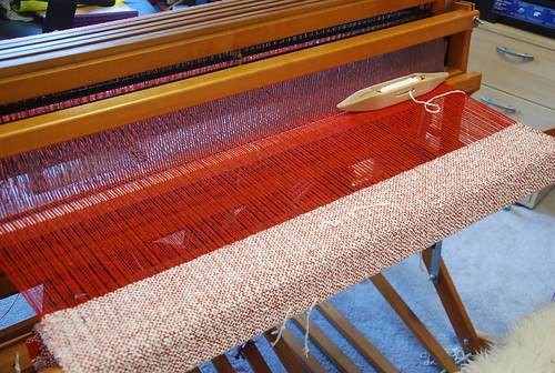 Handweaving wool and rayon chain throw on Schacht Mighty Wolf loom by irieknit