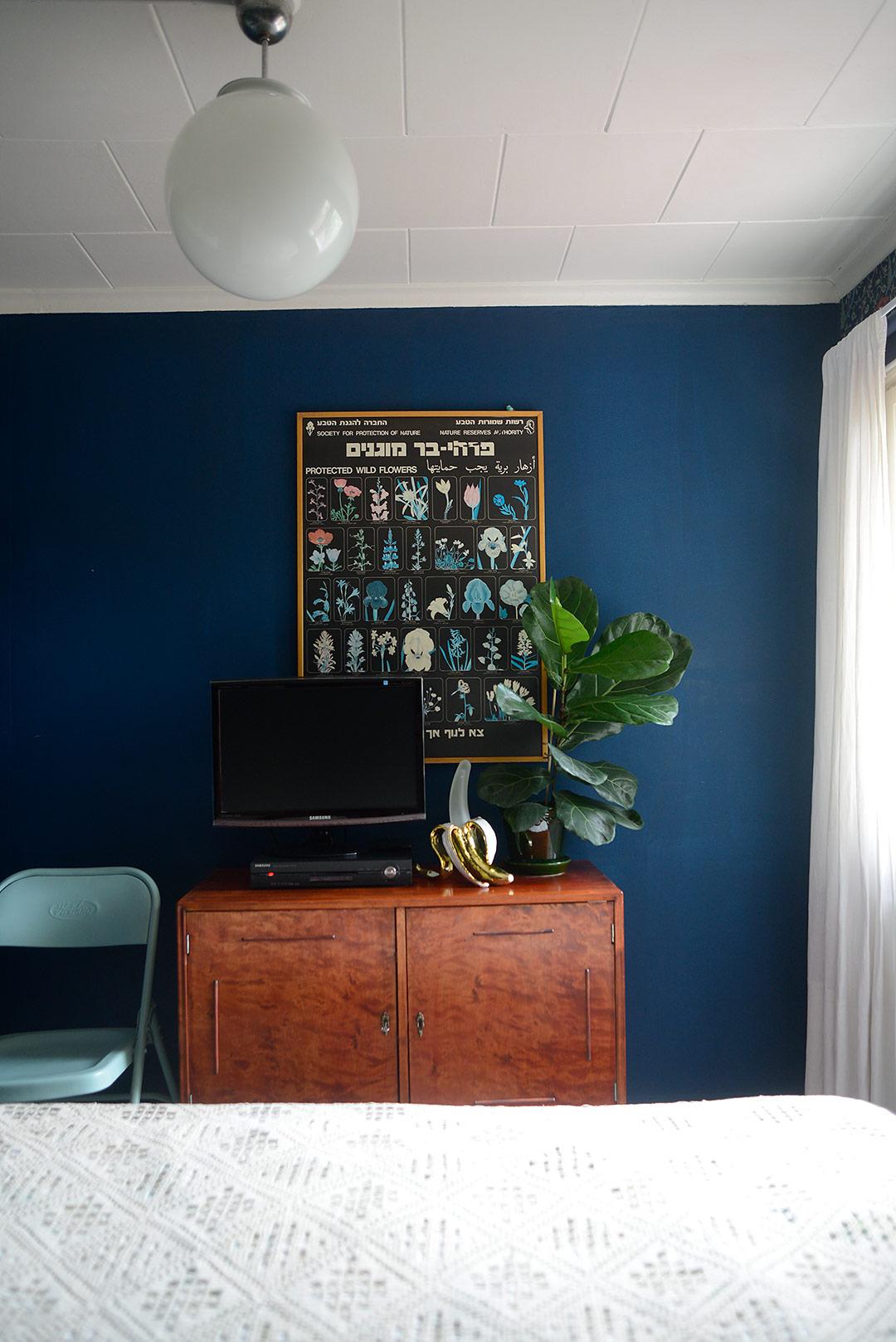 Indigo blue vintage style bedroom