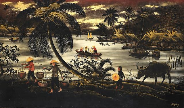 Tranh Đông Dương xưa - Thuyền đánh cá trở về