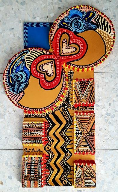 Relieve pintado en acrilico artista moderna Mirit Ben-Nun