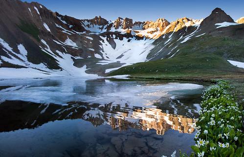 blue lakes lake mountains forest trail flowers sunrise colorado bluelakes summer