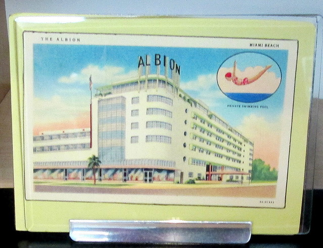 Tin with lid showing the Albion Hotel, Miami Beach