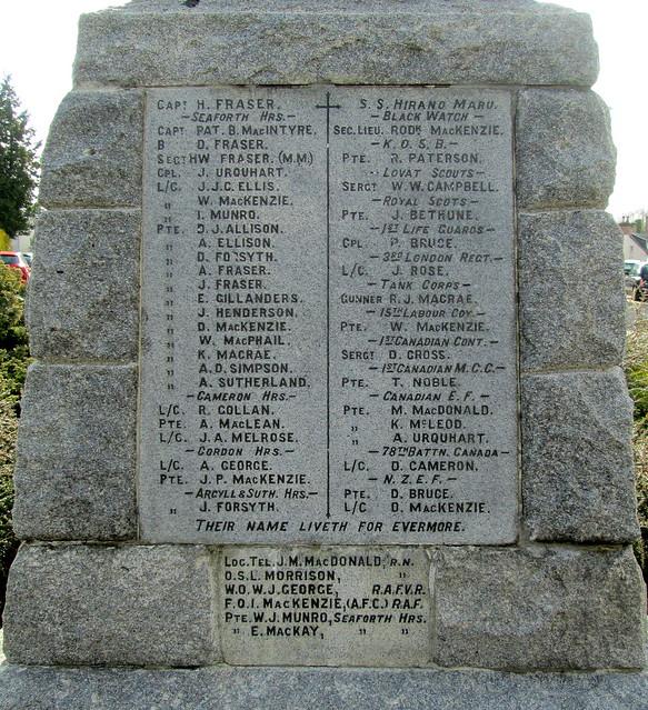 Names, War Memorial, Conon Bridge