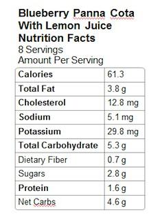 Nutrition Info - Blueberry Panna Cotta