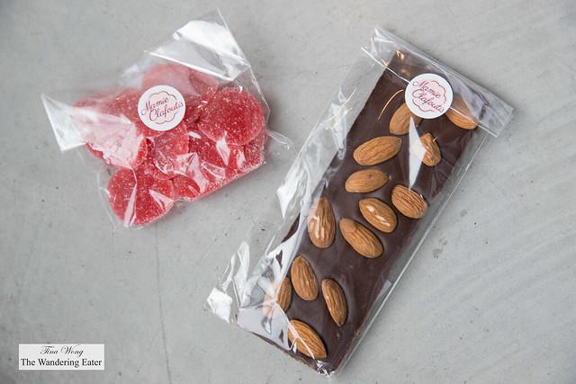 House made gummies and dark chocolate almond bar