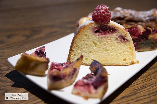 Sampler plate of sweets - yogurt raspberry cake, raspberry flan