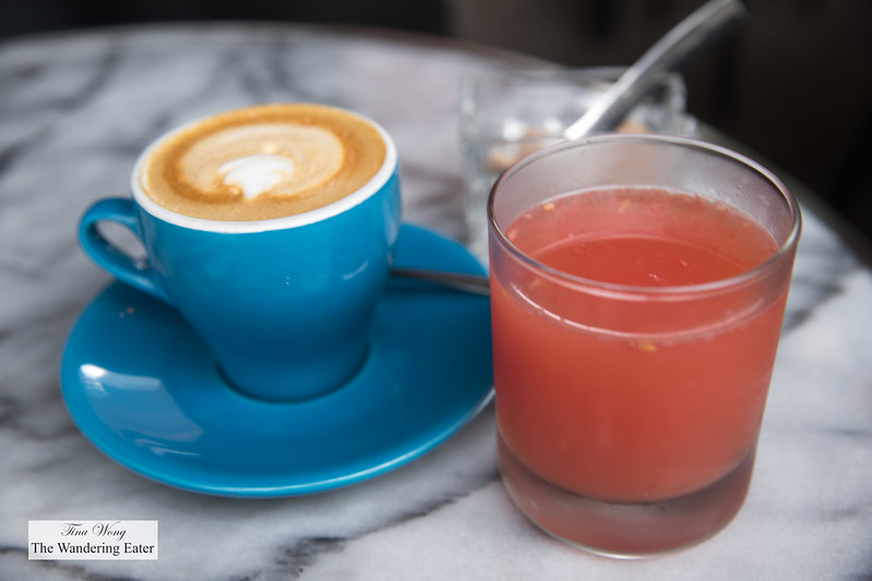 Fresh squeezed grapefruit juice and cappuccino