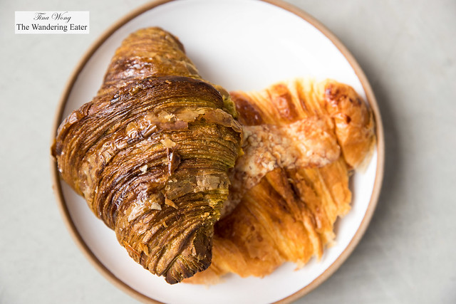 Matcha croissant and cheese croissant