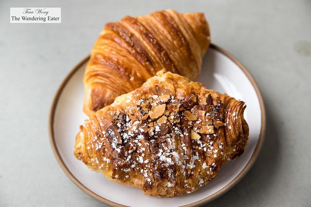 Almond croissant and regular croissant