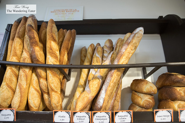 Baguettes and loaves of bread