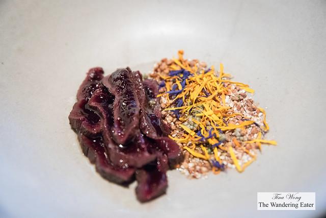 Seared seal with buckwheat, dried flower and labrador tea