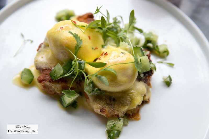 Shrimp cake eggs Benedict, cucumber peanut relish, salicornia, hollandaise