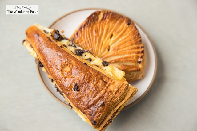 Chocolate chip and pastry cream viennoiserie and French apple turnover