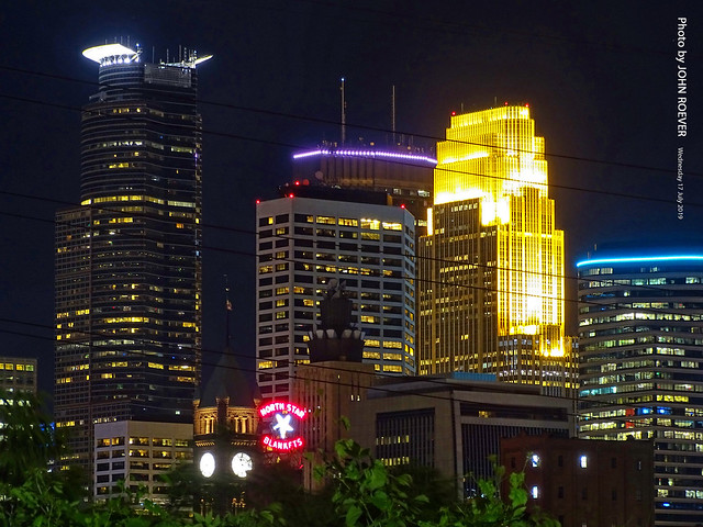 Minneapolis Skyline at Night, 17 July 2019