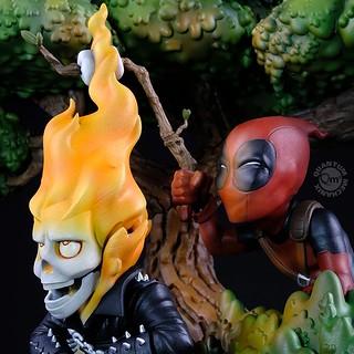死侍又在調皮了! Quantum Mechanix Q-Master 系列 Marvel Comics【死侍 × 惡靈騎士】Deadpool x Ghost Rider Q-Master Diorama