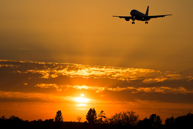 EasyJet Landing At Sunset