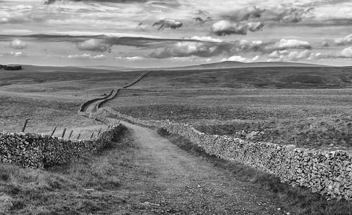 landscape yorkshire yorkshiredales kilnseymoor mastileslane droversroad drystonewalls cloudscape clouds blackwhite monochrome