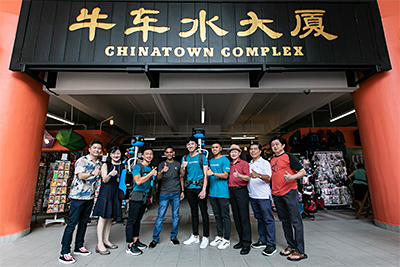 The Street View Trekker with representatives from Google, NHB, NEA and FMAS, at Chinatown Market.