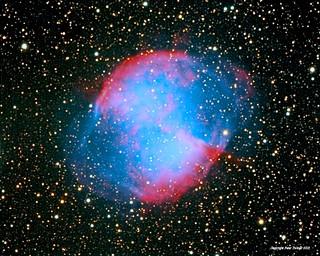 M27 - the Dumbbell nebula - up close