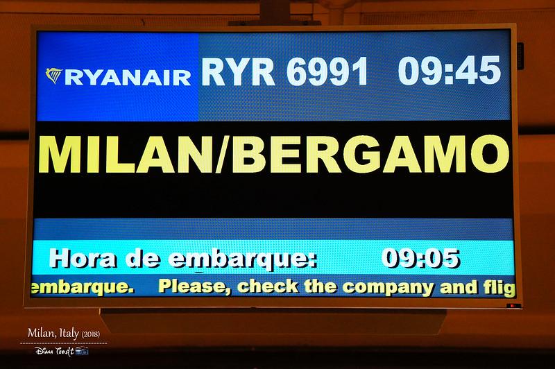 2018 Italy Milan RyanAir to Bergamo Flight