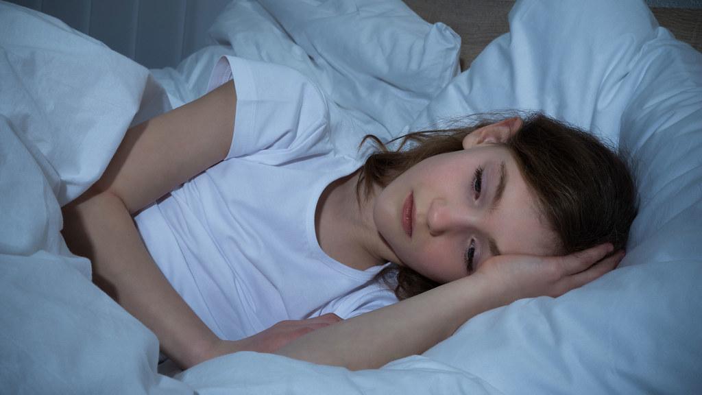A girl having a sleepless night