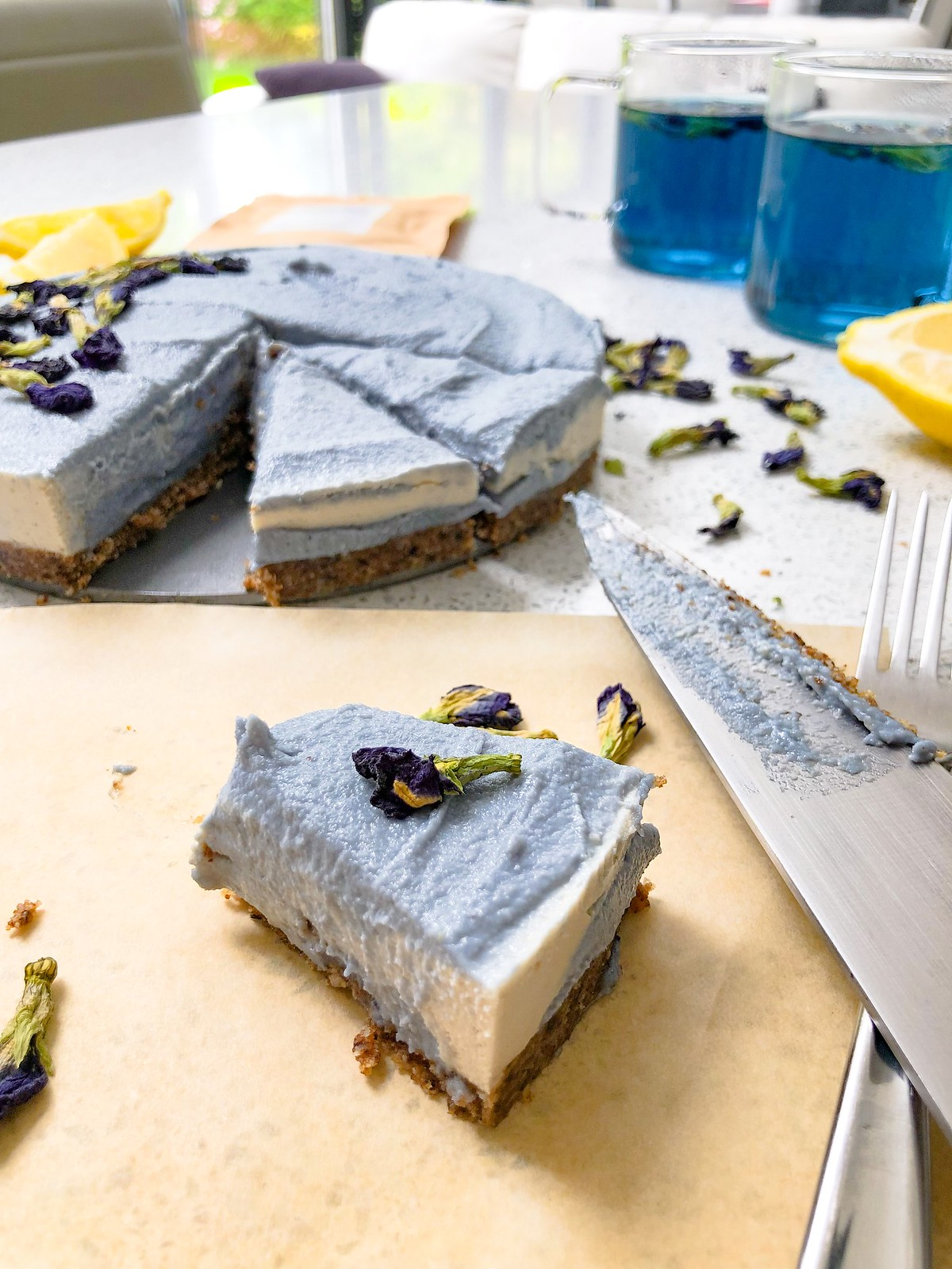 Step 6 blue butterfly pea cheesecake
