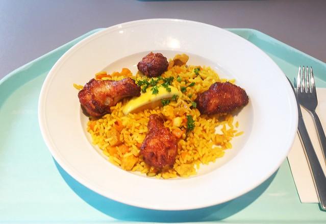 Spanish paella with seafood, chicken & coalfish / Spanische Paella mit Meeresfrüchten, Hühnchen & Seelachs