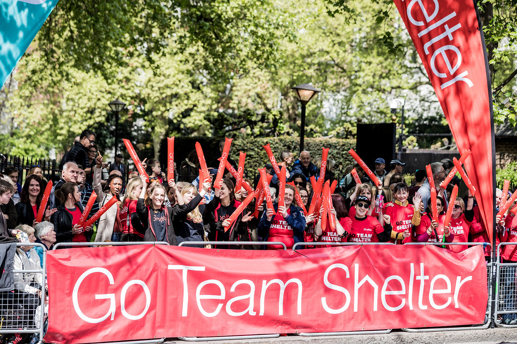 Team Shelter cheer point at the 2019 London Marathon