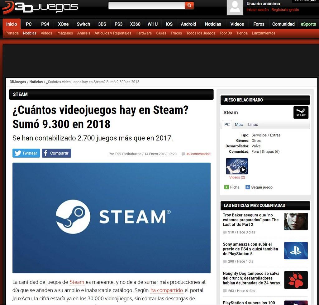 Cantidad de juegos en Steam