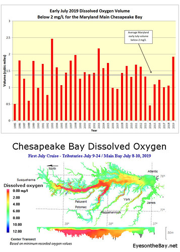 Map and graph of early July hypoxia monitoring