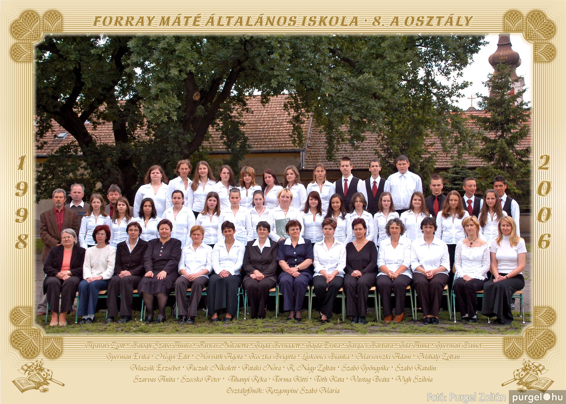 2006.05.31. 001 Forray Máté Általános Iskola osztályképek 2006. - Fotó:PURGEL ZOLTÁN© 8.a osztály.jpg