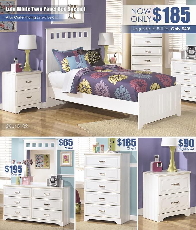 Lulu White Twin Panel Bed_Layout_B102