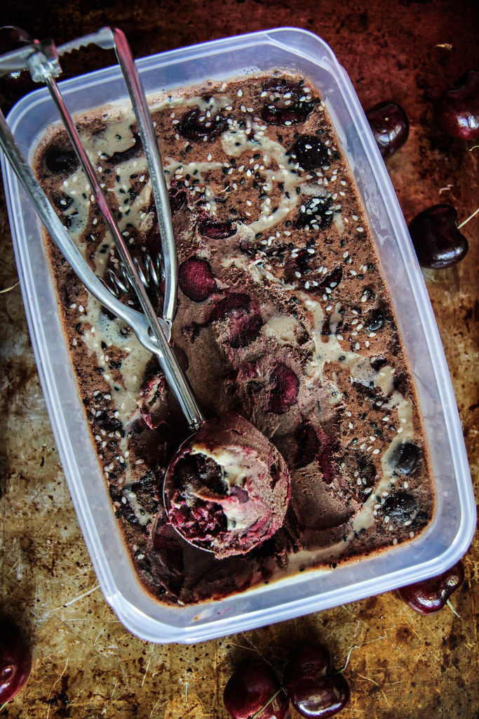 Vegan Chocolate Tahini Cherry Chunk Ice Cream from HeatherChristo.com