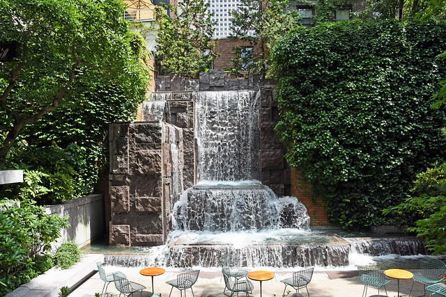 Picture Taken Inside Greenacre Park Located At 217 East 51st Street Between 2nd Avenue And 3rd Avenue In Manhattan. The Main Attraction Of This Park  Is A 25 Foot High Waterfall At The Rear Of the Park. The Splashing Water Is Very Much Of The Park- 080119